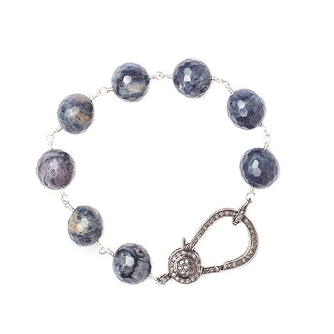 Stella Blue Jasper w/ Diamond Clasp - Shoshanna Lee
