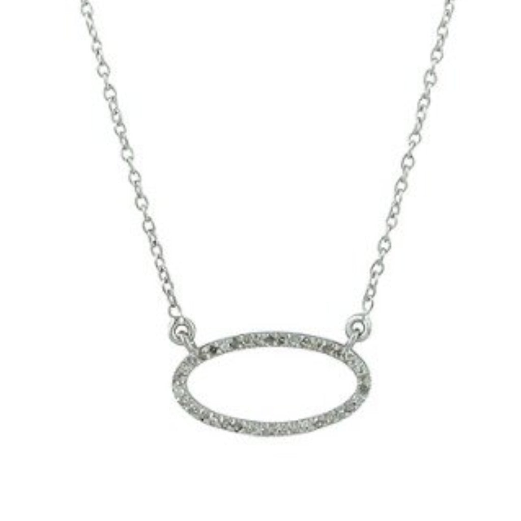Beloved Small Oval Necklace with White Diamonds Sterling Silver - Shoshanna Lee