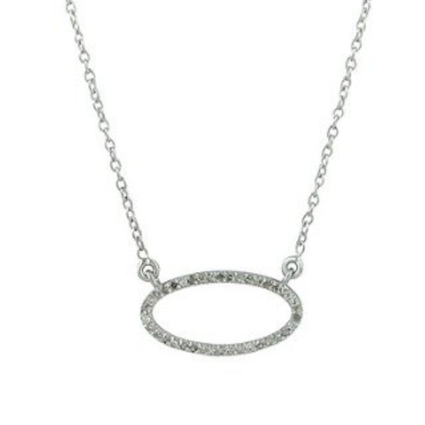 Beloved Small Oval Necklace with White Diamonds Sterling Silver