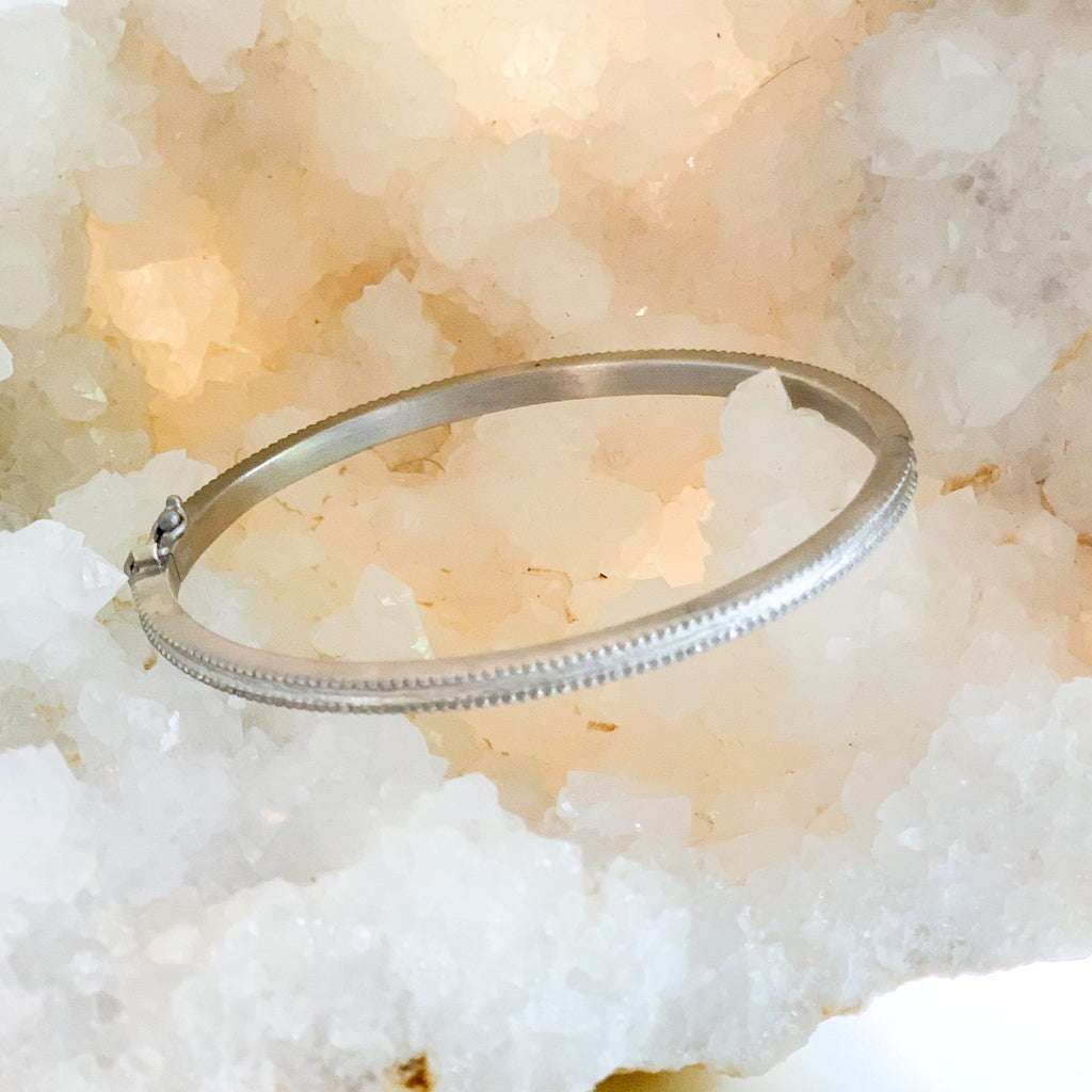 Petite Textured Bangle Silver