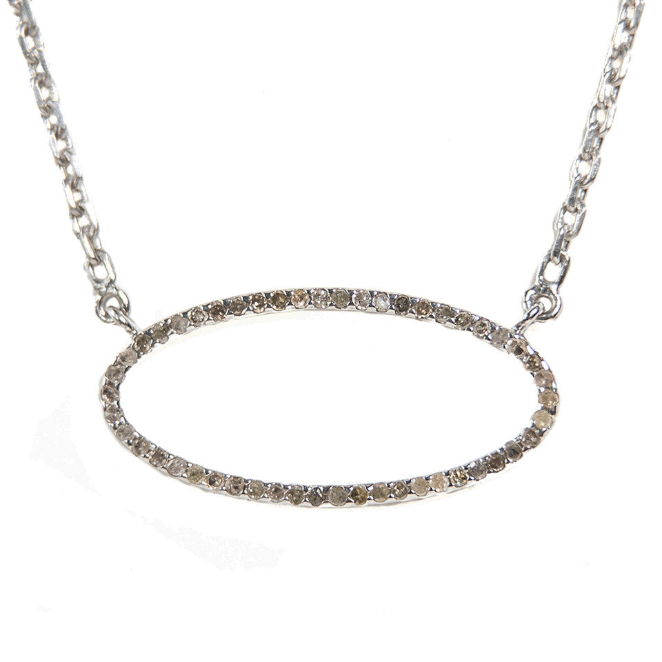 Beloved Large Oval Necklace Oxidized Silver - Shoshanna Lee