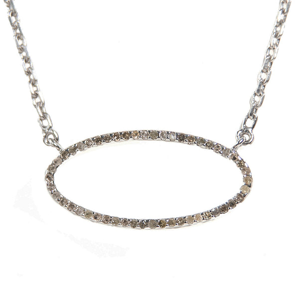 Beloved Large Oval Necklace Oxidized Silver