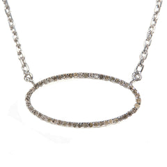 Sterling Silver Beloved Oval Necklace with .420 carat Brown Diamonds
