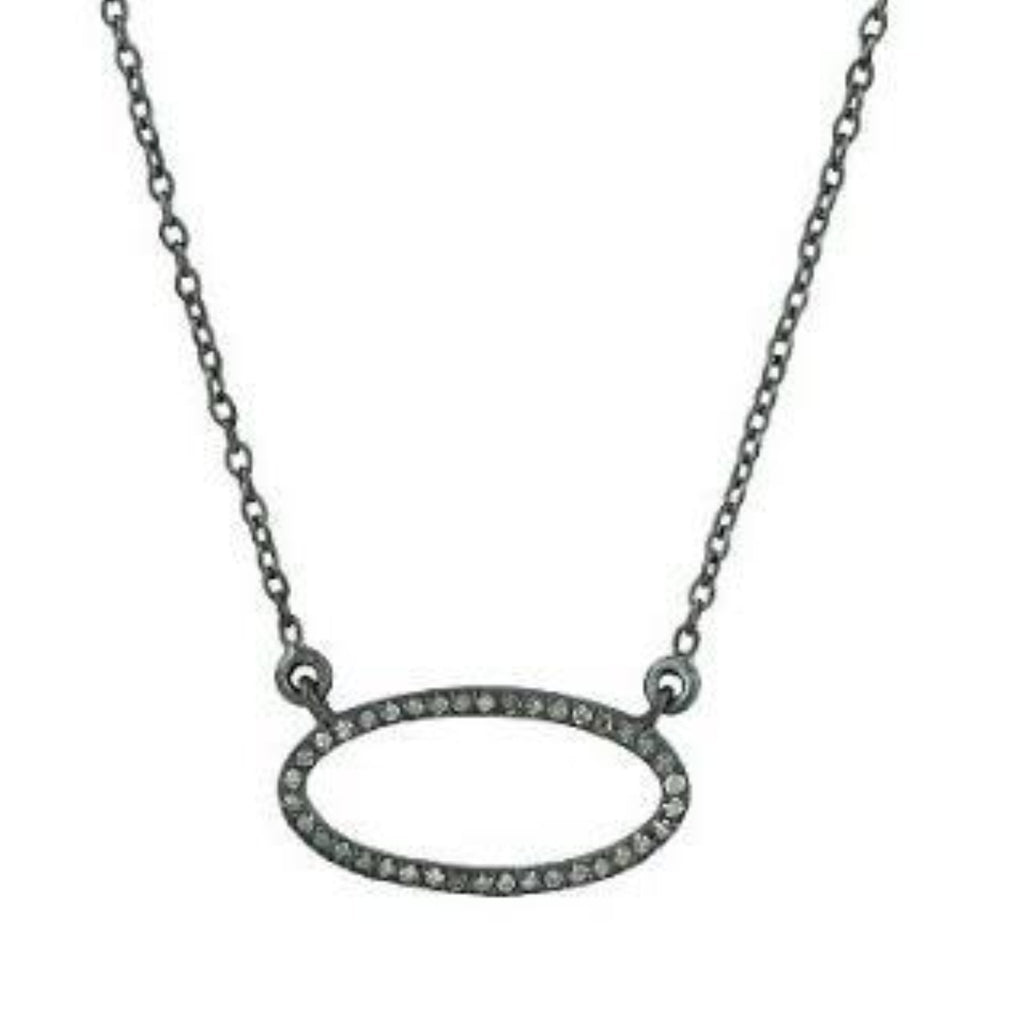 Beloved Small Oval with Diamonds Necklace Oxidized - Shoshanna Lee