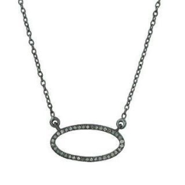 Beloved Small Oval with Diamonds Necklace Oxidized