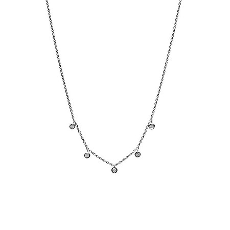 Five Floating Diamond Necklace Oxidized Silver