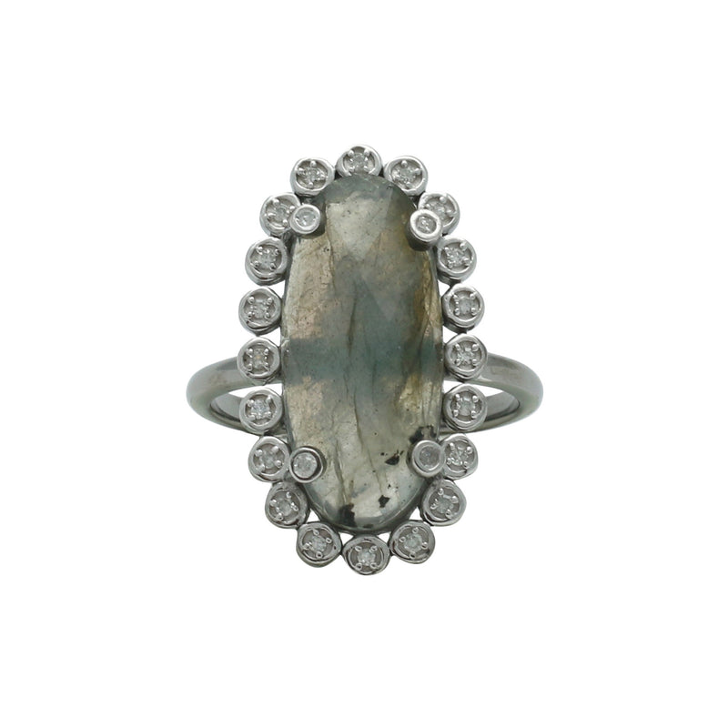 Santa Monica Pavé Labradorite Oxidized Ring with Diamonds - Shoshanna Lee