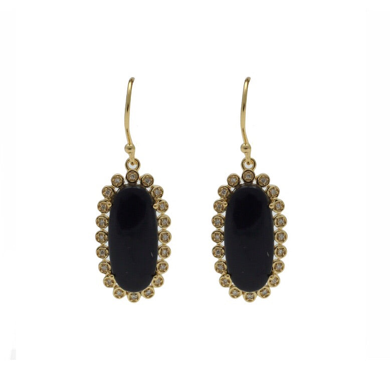 Santa Monica Pavé Black Onyx Gold Earrings with Diamonds - Shoshanna Lee
