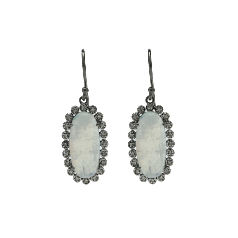 Santa Monica Pavé Moonstone Oxidized Earrings with Diamonds - Shoshanna Lee