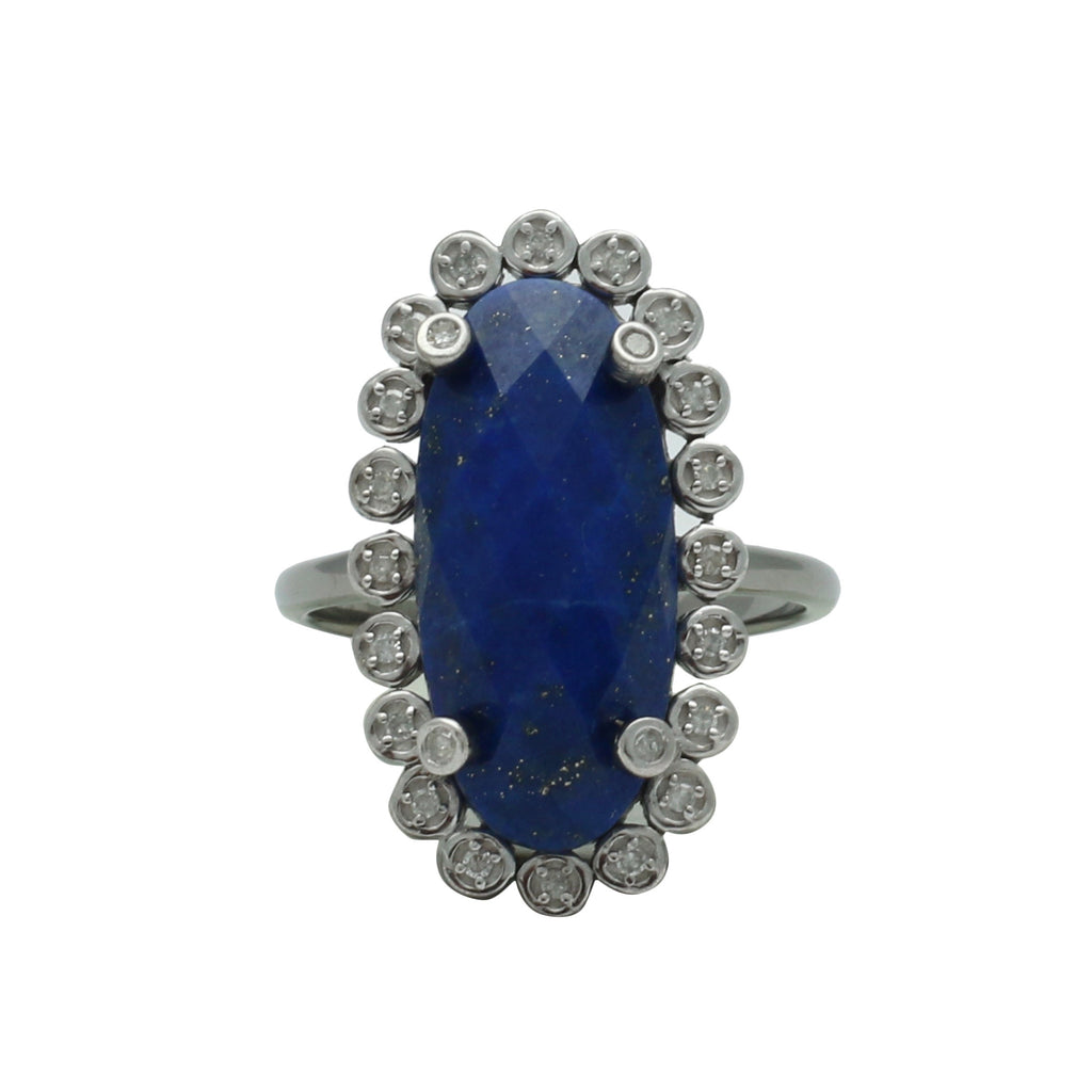 Santa Monica Pavé Lapis Oxidized Ring with Diamonds - Shoshanna Lee