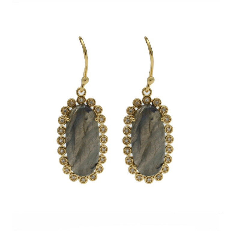 Santa Monica Pavé Labradorite Gold Earrings with Diamonds - Shoshanna Lee