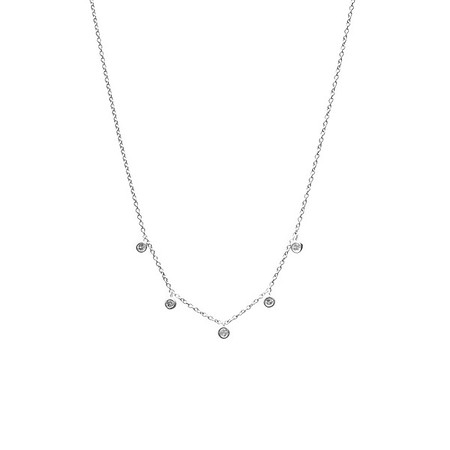 Five Floating Diamond Necklace Silver