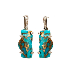 Zion Mountain Turquoise Oxidized Earrings with Diamonds