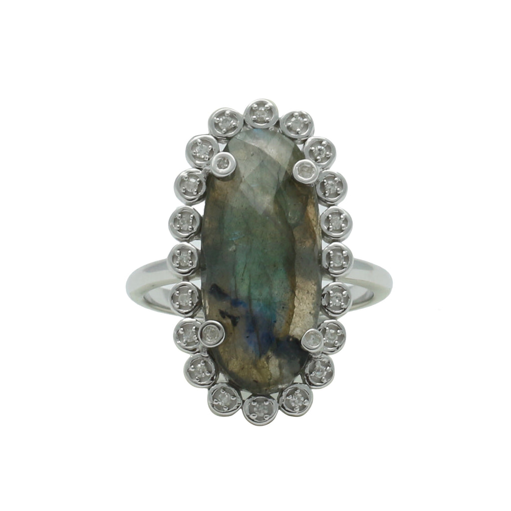 Santa Monica Pavé Labradorite Sterling Silver Ring with Diamonds - Shoshanna Lee