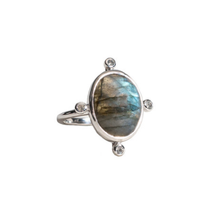Natural Labradorite Stone Ring White Rhodium