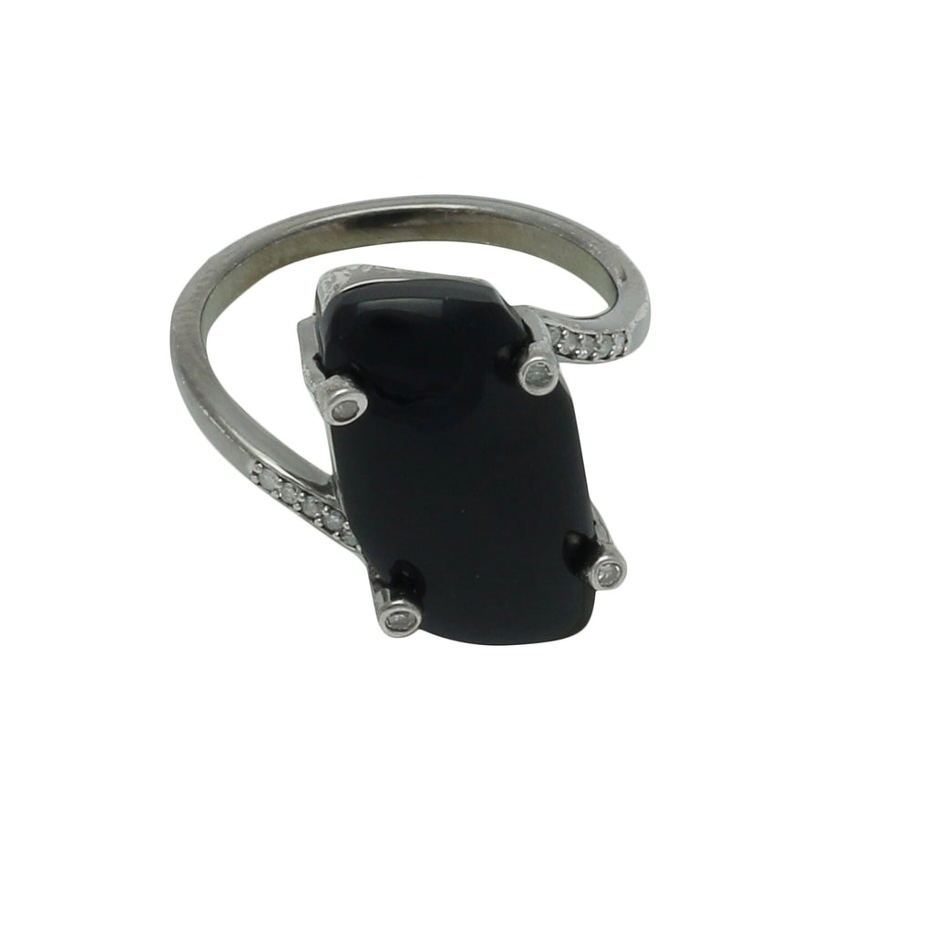 Palm Desert Black Onyx Oxidized Ring with Diamonds - Shoshanna Lee