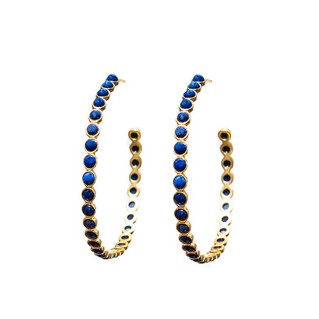 Chloe Blue Lapis Gold Hoops - Shoshanna Lee