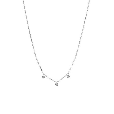 Floating Three Diamond Necklace Silver - Shoshanna Lee