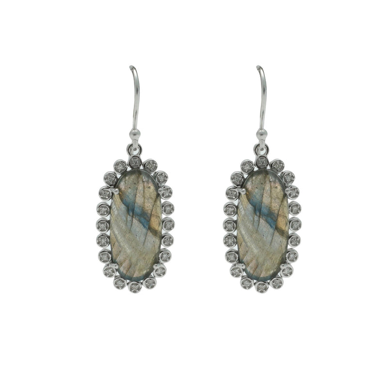 Santa Monica Pavé Labradorite Sterling Silver Earrings with Diamonds - Shoshanna Lee