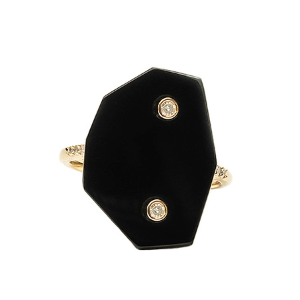 New York Black Onyx Ring with diamonds - Shoshanna Lee
