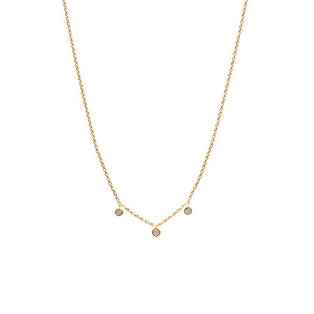 Three Floating Diamond Necklace Gold