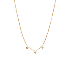 Floating Three Diamond Necklace Gold