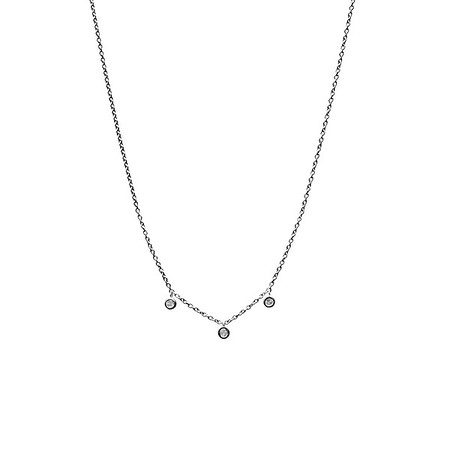 Floating Three Diamond Necklace Oxidized - Shoshanna Lee