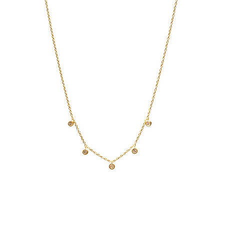 Five Floating Diamond Necklace Gold