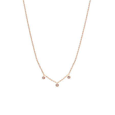 Floating Three Diamond Necklace Rose Gold - Shoshanna Lee