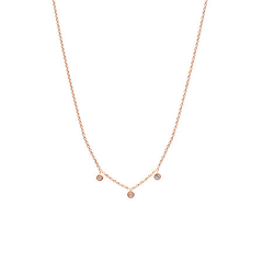 Three Floating Diamond Necklace Rose Gold