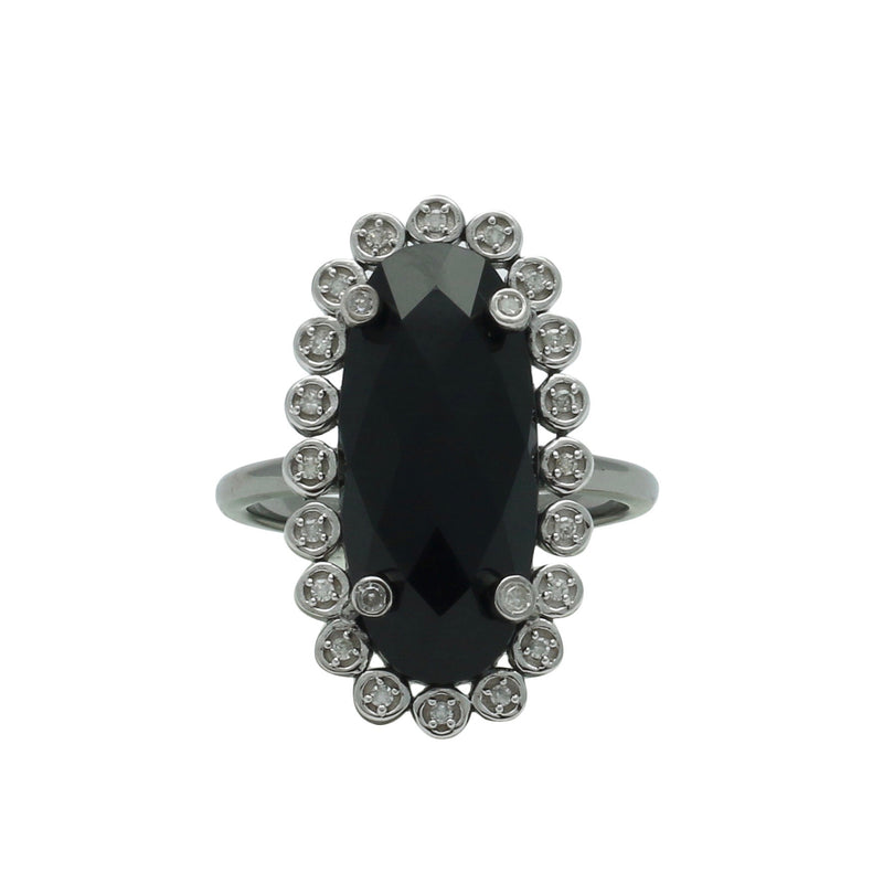 Santa Monica Pavé Black Onyx Oxidized Ring with Diamonds - Shoshanna Lee
