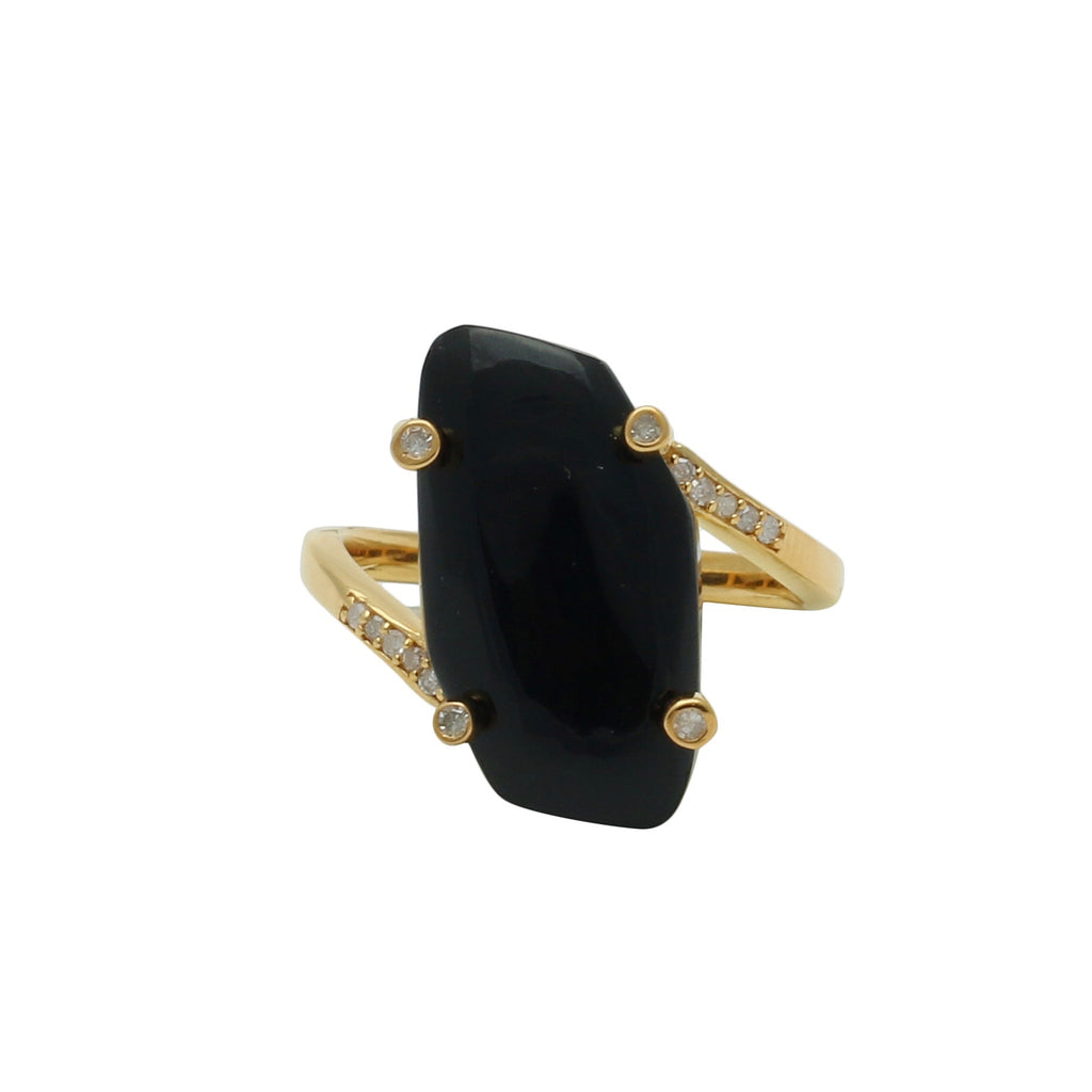 Palm Desert Black Onyx Gold Ring with Diamonds - Shoshanna Lee