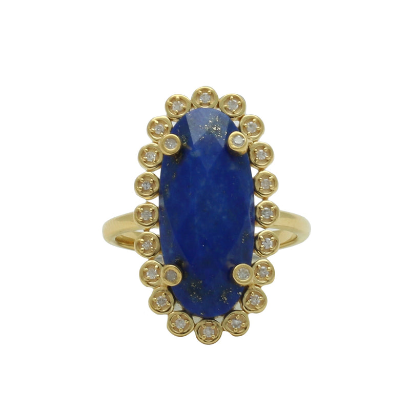 Santa Monica Pavé Lapis Gold Ring with Diamonds - Shoshanna Lee