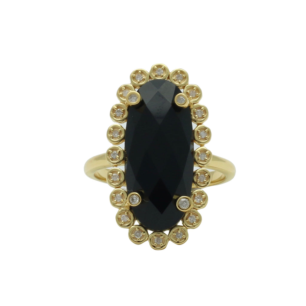 Santa Monica Pavé Black Onyx Gold Ring with Diamonds - Shoshanna Lee
