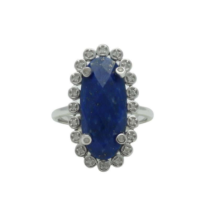 Santa Monica Pavé Lapis Sterling Silver Ring with Diamonds - Shoshanna Lee