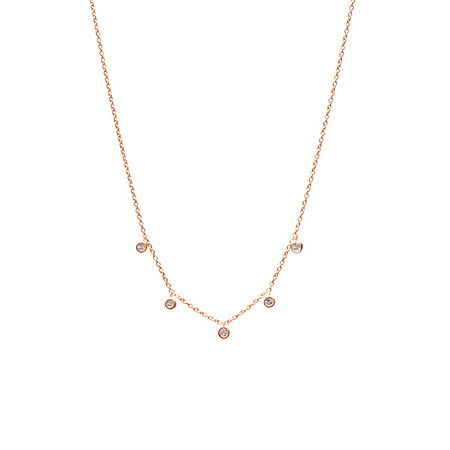 Five Floating Diamond Necklace Rose Gold