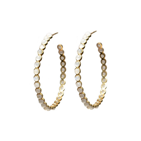 Chloe Moonstone Gold Hoops - Shoshanna Lee
