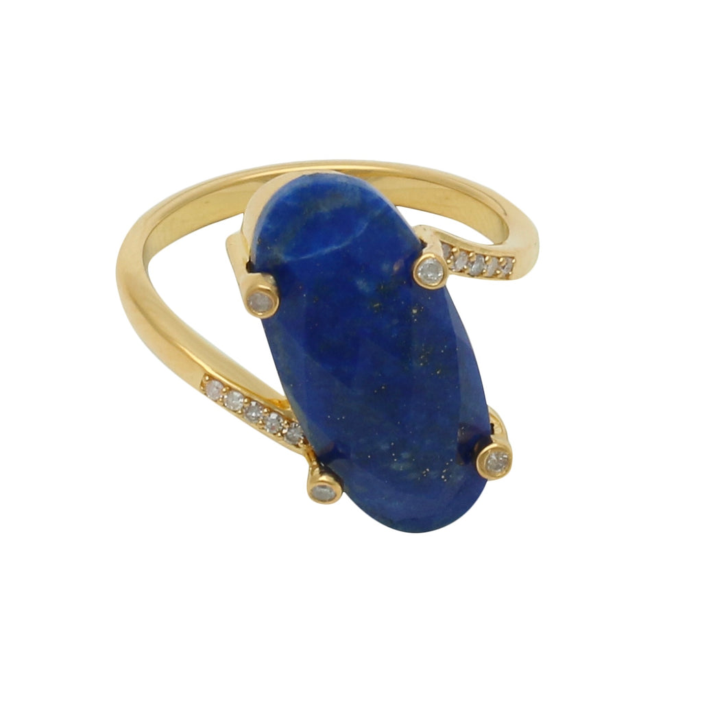 Palm Springs Lapis Gold Ring with Diamonds - Shoshanna Lee