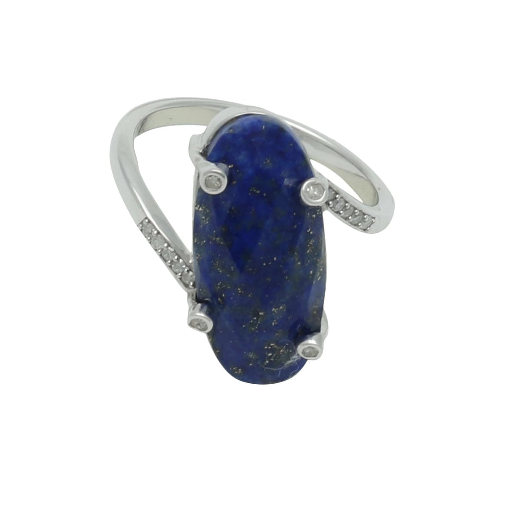 Palm Springs Lapis Sterling Silver Ring with Diamonds - Shoshanna Lee