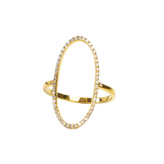 18 carat Yellow Gold Loved Oval Ring with .395 carat White Diamonds
