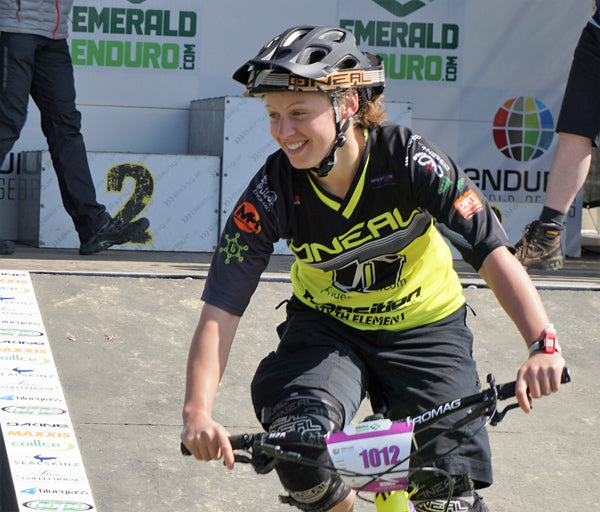Bex Baraona looking elated with her top ten finish in the Enduro World Series Wicklow Ireland