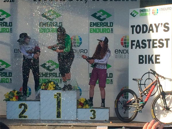 Women's under 21's podium at the Enduro World Series Ireland