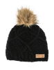 Picture Organic Clothing Ladies Judy Beanie Hat Black knitted with fur pompom