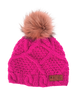Pink womens' chunky knit Judy beanie hat from Picture Organic Clothing with faux fur pompom
