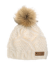 Picture Organic Ladies' Judy beanie hat white chunky knit with faux fur pompom