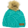 Mint green Picture Organic Clothing's womens' Judy beanie hat chunky knit with faux fur pompom