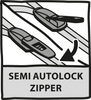Semi-autolock zippers