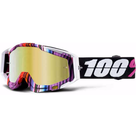 100% MX DH BMX Goggles Glitch - Stripey - Purple, Blue, White, Black, Red