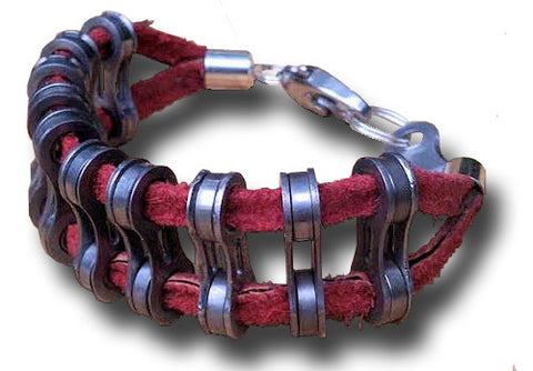 Bits of Bike - Double Band Red Chain Suede Bracelet