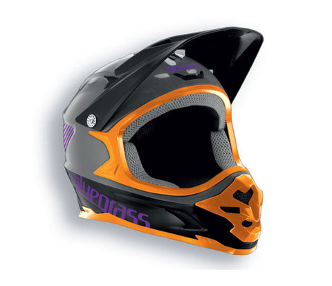 Bluegrass Intox Full Face BMX Helmet Black Orange Purple